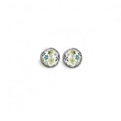 Boucles d'oreilles clous ou puces motif liberty floral tons verts