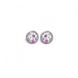 Boucles d'oreilles clous ou puces motif liberty floral tons violets et roses