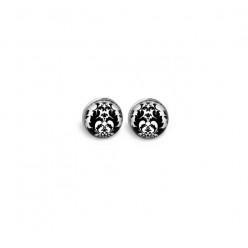 Boucles d'oreilles clous ou puces:  motif baroque noir et blanc