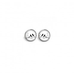 Boucles d'oreilles clous ou puces motif oiseaux sur la branche noir et blanc