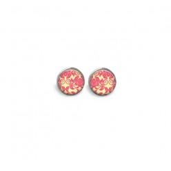 Boucles d'oreilles clous ou puces motif 'Rose Damassée'