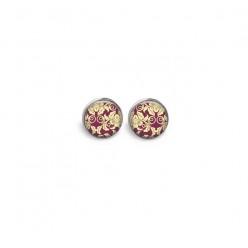Boucles d'oreilles clous ou puces motif Baroque vieux rose
