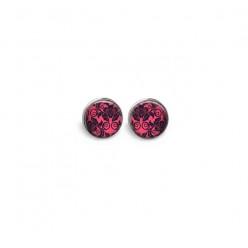 Boucles d'oreilles clous ou puces en métal coloris hématite motif 'Baroque rose vif'