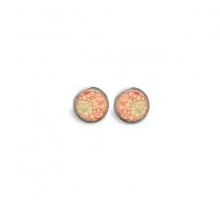 Boucles d'oreilles clous ou puces motif 'Fleurs' jaune et orange