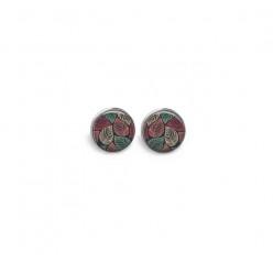 Boucles d'oreilles clous ou puces motif feuilles rose et vert