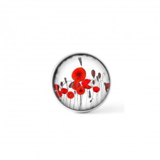 Interchangeable clip on button with a Naïve poppy theme in red and black