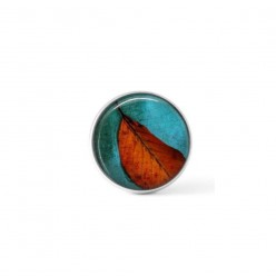 Cabochon / Button for Interchangeable Jewelry - turquoise and bright orange leaf theme