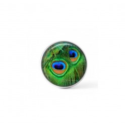 Cabochon/Button for Interchangeable Jewelry - Emerald green peacock feather theme