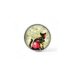 Cabochon/Button for Interchangeable Jewelry - Pink floral cat theme