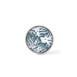 Cabochon/Button for Interchangeable Jewelry - Grey blue Coral theme