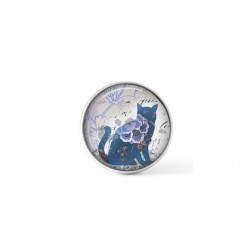 Cabochon/Button for Interchangeable Jewelry - Blue cat theme