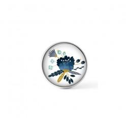 Cabochon / bouton pour bijoux interchangeables - thème fleur bleue scandinave