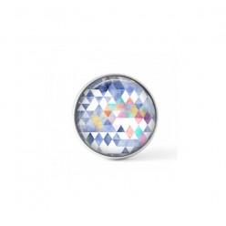 Cabochon / bouton pour bijoux interchangeables - thème triangles bleu pastel