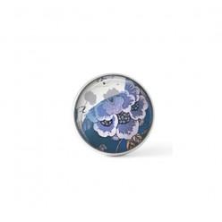 Cabochon / bouton pour bijoux interchangeables - thème floral bleu