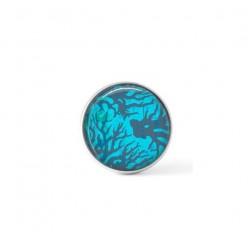 Cabochon / bouton pour bijoux interchangeables - thème Corail bleu
