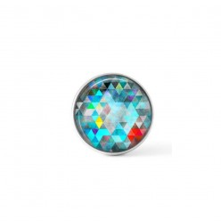 Cabochon/Button for Interchangeable Jewelry - Blue triangles theme