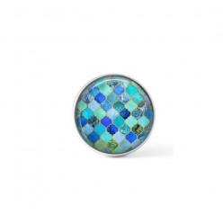 Cabochon/Button for Interchangeable Jewelry - Turquoise mosaics theme