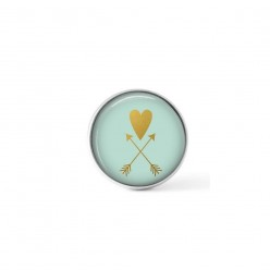 Cabochon/Button for Interchangeable Jewelry - Gold heart and arrow on pastel blue theme