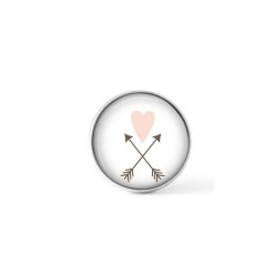 Cabochon/Button for Interchangeable Jewelry - Pink heart and arrow theme