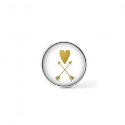 Cabochon/Button for Interchangeable Jewelry - Gold heart and arrow theme