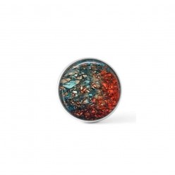 Cabochon / bouton pour bijoux interchangeables - Thème minéral turquoise et rouille