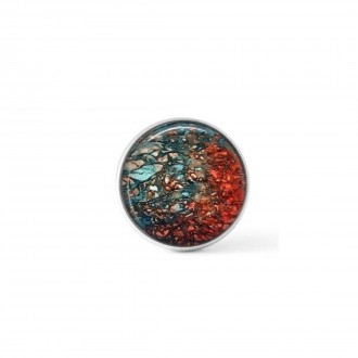 Cabochon/Button for Interchangeable Jewelry - Turquoise and Rust mineral theme