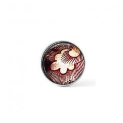 Cabochon / bouton pour bijoux interchangeables - thème de plume rouge grunge vintage