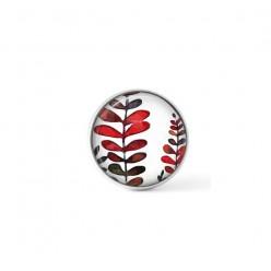 Cabochon / bouton pour bijoux interchangeables - thème fougères rouges