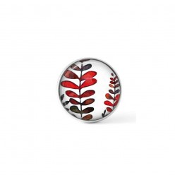 Cabochon/Button for Interchangeable Jewelry - Red ferns theme