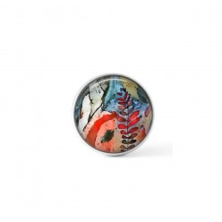 Cabochon/Button for Interchangeable Jewelry - Abstract Red ferns theme