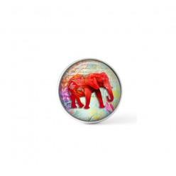 Cabochon / bouton pour bijoux interchangeables - thème éléphant rose