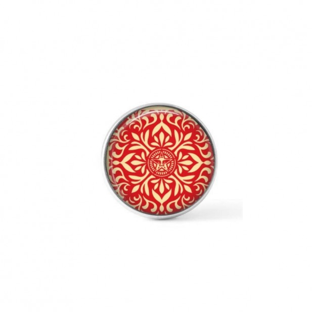 Cabochon/Button for Interchangeable Jewelry - Red and Cream Japanese mandala theme