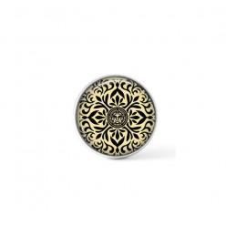 Cabochon / bouton pour bijoux interchangeables - thème mandala japonais noir et crème
