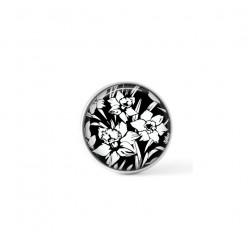 Cabochon / bouton pour bijoux interchangeables - thème jonquilles noir et blanc