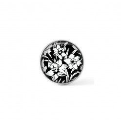 Cabochon/Button for Interchangeable Jewelry - Black and White Daffodils theme