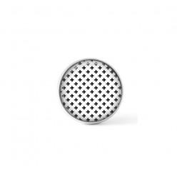 Cabochon / bouton pour bijoux interchangeables - Thème croix noir et blanc