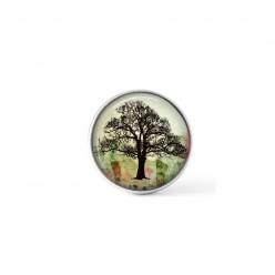 Cabochon à bouton-pression pour bijoux interchangeables avec un frêne sur fond vert et rouge grunge