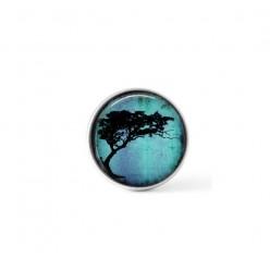 Cabochon à bouton pression pour bijoux interchangeables avec un thème de tortillis d'acacia sur fond turquoise vif