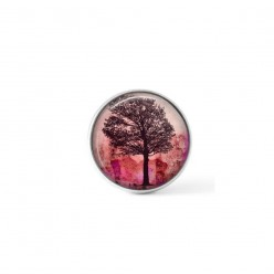 Snap button cabochon for interchangeable jewelry with a sunset and ash tree theme