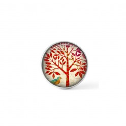 Snap button cabochon for interchangeable jewelry with a naïve, red tree of life theme