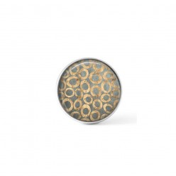 Snap button cabochon for interchangeable jewelry with a grey and beige circles abstract theme
