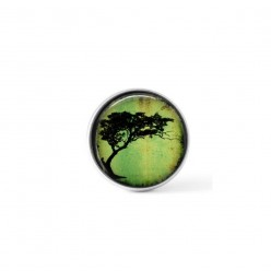 Snap button cabochon for interchangeable jewelry with a an acacia tortillis tree theme on a bright green background