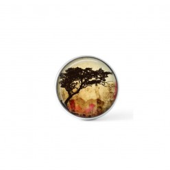 Snap button cabochon for interchangeable jewelry with a acacia tortillis tree theme