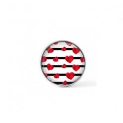 Cabochon / Buton pour bijoux interchangeable - Lignes et coeurs