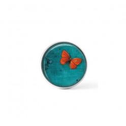 Cabochon / bouton pour bijoux interchangeables - Papillon orange sur fond vert turquoise