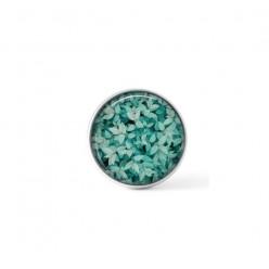Cabochon / bouton pour bijoux interchangeables - Feuillage turquoise