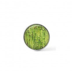 Cabochon / Button for Interchangeable Jewelry - green crackle paint theme