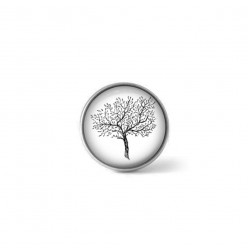 Clip-on snap button for interchangeable jewelry : black and white olive tree theme