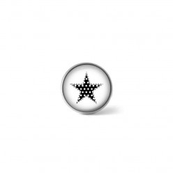 Clip-on snap button for interchangeable jewelry : black and white polka dotted star theme