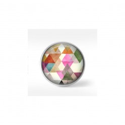 Bouton cabochon clipsable pour bijoux interchangeables : motif triangles boho aquarelle 2